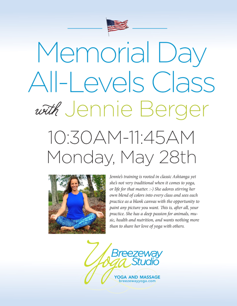 Memorial Day All-Levels Class with Jennie Berger @ Breezeway Yoga Studio | Knoxville | Tennessee | United States